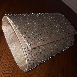 Handbags - Tan Sparkly Clutch (with strap inside)